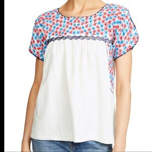 Roller Rabbit SS Mamie Floral Embroidered Blouse S